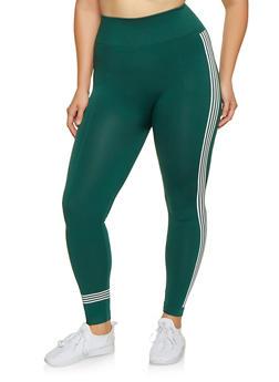 Plus Size Striped Detail Leggings - 3969061633099