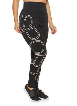 Plus Size Striped Detail Leggings - 3969061633109