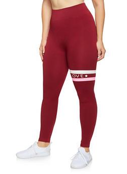 Plus Size Love Graphic Detail Leggings - 3969061633119