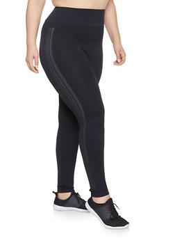 Plus Size Side Striped Leggings - 3969061633149