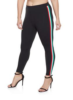 Plus Size Striped Tape Leggings - 3969061633159