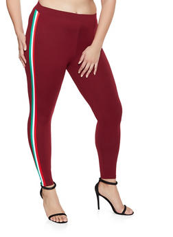 Plus Size Striped Tape Leggings - 3969061633179