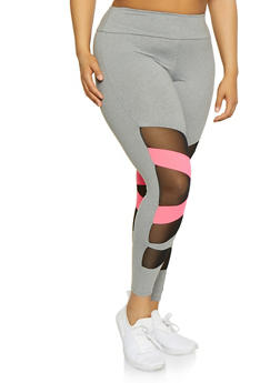 Plus Size Neon Detail Mesh Insert Leggings - 3969061633649