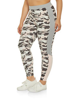 Plus Size Camo Soft Knit Leggings | 3969061633689 - 3969061633689
