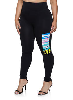 Plus Size Drip Graphic Active Leggings - 3969061634919