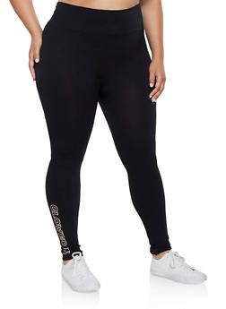 Plus Size Glowed Up Graphic Leggings - 3969061634950