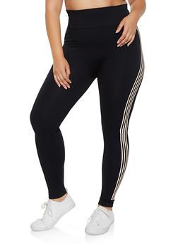 Plus Size Pintuck Striped Detail Leggings - 3969061636120