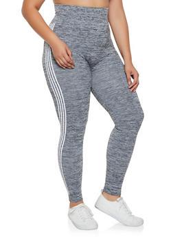 Plus Size Striped Side Pintuck Leggings - 3969061636121