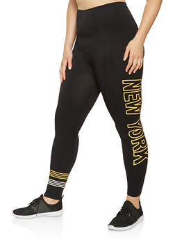 Plus Size New York Graphic Leggings - 3969061636129