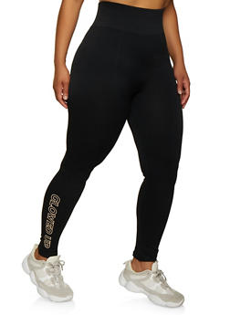 Plus Size Glowed Up Graphic Leggings - 3969061636918