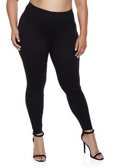 Plus Size Soft Knit Solid Leggings | 3969061639181 - 3969061639181