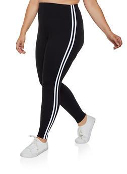 Plus Size Varsity Stripe Soft Knit Leggings - 3969061639183