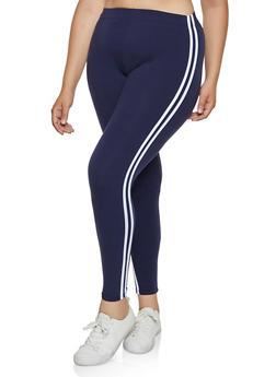 Plus Size Soft Knit Varsity Stripe Leggings - 3969061639186
