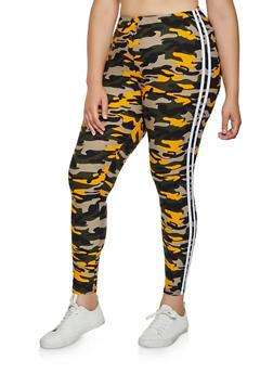 Plus Size Varsity Stripe Camo Leggings | 3969061639187 - 3969061639187