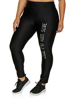 Plus Size Number Graphic Leggings - 3969062122126