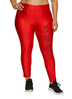 Plus Size Number Graphic Leggings - 3969062122126