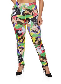Plus Size Face Graphic Soft Knit Leggings - 3969062129002