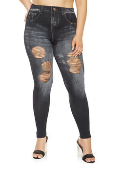 Plus Size Distressed Denim Print Knit Leggings - 3969062900014