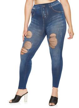 Plus Size Distressed Denim Print Knit Leggings - 3969062900014