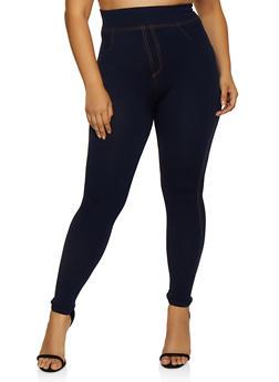 Plus Size Denim Knit Leggings | 3969062900022 - 3969062900022