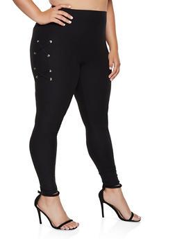 Plus Size Lace Up Side Leggings - 3969062900025