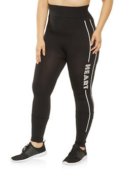 Plus Size Rebel Heart Graphic Leggings - 3969062900066