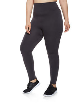Plus Size French Terry Lined Leggings - 3969062900097