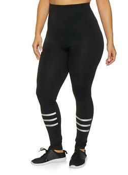 Plus Size Holographic Stripe Detail Leggings - 3969062900121