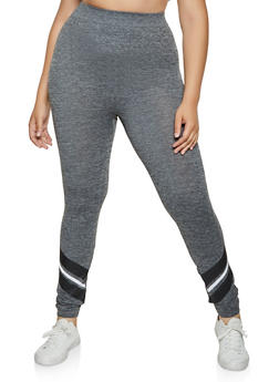 Plus Size Striped Ankle Detail Leggings | 3969062900325 - 3969062900325