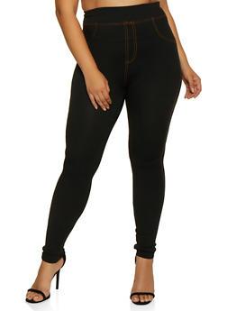 Plus Size Denim Knit Leggings | 3969062900326 - 3969062900326