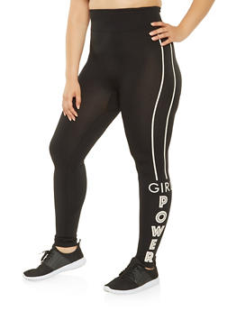Plus Size Girl Power Graphic Leggings - 3969062900771