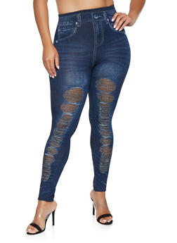 Plus Size Fishnet Insert Denim Knit Leggings - 3969062900805