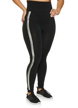 Plus Size Side Stripe Leggings - 3969062901226