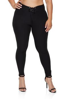 Plus Size Lace Up Waist Leggings - 3969062901425