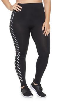 Plus Size Foil Stripe Detail Leggings - 3969062901430