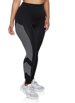 Plus Size Chevron Detail Active Leggings - 3969062901680