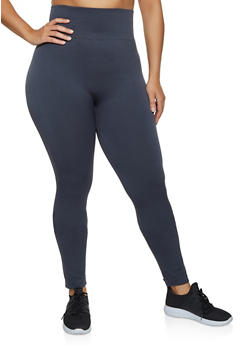 Plus Size Solid French Terry Lined Leggings - 3969062902001