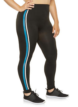 Plus Size Painted Varsity Stripe Leggings - 3969062902020