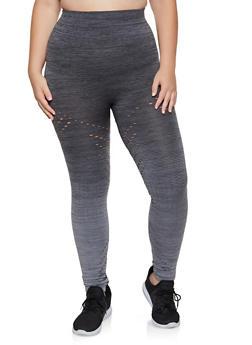 Plus Size Perforated Leggings - 3969062903022