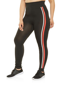 Plus Size Side Stripe Leggings - 3969062903201
