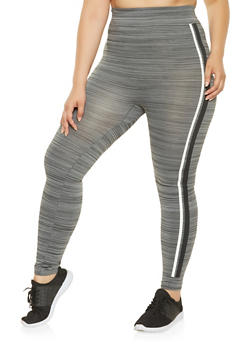 Plus Size Painted Varsity Stripe Leggings - 3969062903203