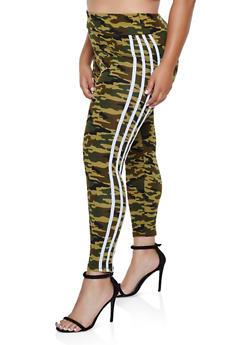 Plus Size Striped Detail Camo Leggings - 3969062904012