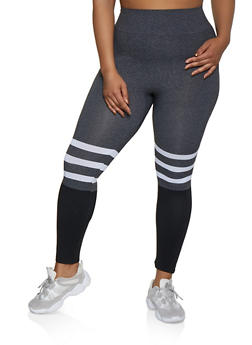 Plus Size Striped Color Block Seamless Leggings - 3969062904401