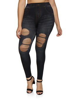 Plus Size Ripped Jean Print Leggings - 3969062904901