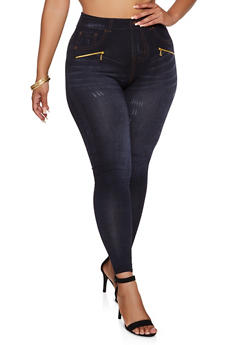 Plus Size Denim Print Zip Detail Leggings - 3969062905102