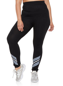Plus Size Striped Ankle Detail Leggings - 3969062905225