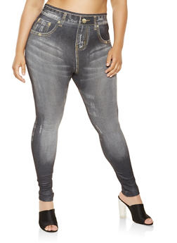 Plus Size Denim Print Leggings - 3969062906003