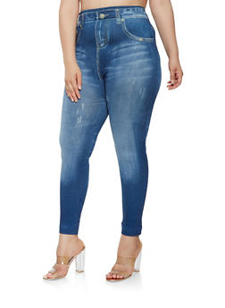 Plus Size Denim Print Leggings - 3969062906003