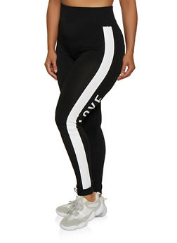 Plus Size Love Stripe Side Leggings - 3969062906012