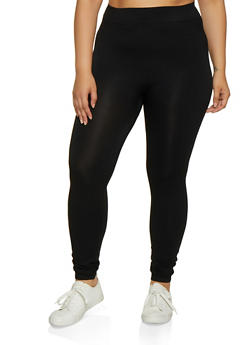 Plus Size Seamless Solid Leggings - 3969062906025